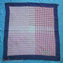 Yves Saint Laurent Ysl Designer Plaid Theme Foulard Chiffon Silk Scarf 31