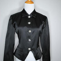 Yves Saint Laurent Ysl France Black Satin Rhinestone Blazer Jacket 8 38 Photo