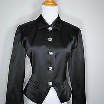 Yves Saint Laurent Ysl France Black Satin Rhinestone Blazer Jacket 8 38 Photo