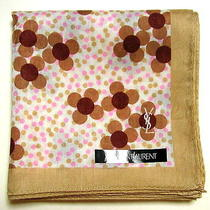 Yves Saint Laurent Ysl Handkerchief Scarf Bandanna Beige Flower Cotton Auth New Photo