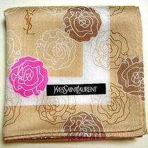 Yves Saint Laurent Ysl Handkerchief Scarf Bandanna Beige Rose Cotton Auth New Photo