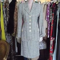 Yves Saint Laurent Ysl Houndstooth Suit 2 Piece Skirt Jacket Blazer Sz 8 Vintage Photo