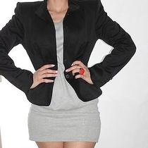 Yves Saint Laurent Ysl  Ladies Black Cotton Blazer Jacket Size 40 Photo