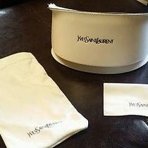 Yves Saint Laurent (Ysl) Large White Sunglasses Case W/ White Pouch & Cloth   Photo