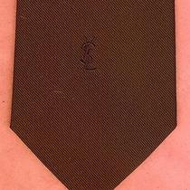 Yves Saint Laurent Ysl Mens Solid Chocolate Brown Logo Neck Tie Photo