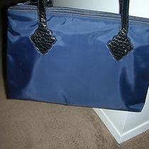 Yves Saint Laurentysl Navy Blue Huge Handbag/tote-Microfiber Rive Gauche   Photo