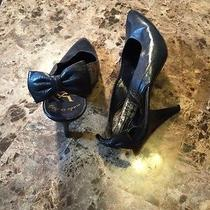 Yves Saint Laurent Ysl Navy Leather Classic Pumps Sling Back Bow Detail 9 N  Photo