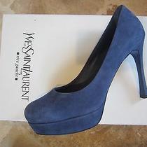 Yves Saint Laurent Ysl Navy Tribtoo Gisele Shoes Platform 38.5 8.5 Auth Photo