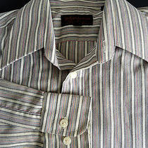 Yves Saint Laurent Ysl Pour Homme Long Sleeve Dress Shirt Stripes 15 32/33 Photo