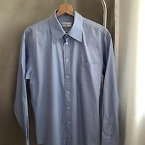 Yves Saint Laurent Ysl Pure Bomme Men's Blue Dress Shirt - Size 16 Made in Italy Photo