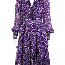 Yves Saint Laurent Ysl Purple White Silk Long Sleeve Pleated Dress Eur Sz 36 Photo
