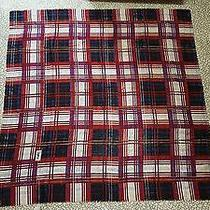 Yves Saint Laurent Ysl Red Metallic Plaid Huge Scarf Wrap Shawl 54