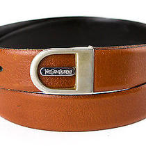 Yves Saint Laurent Ysl Reversible Leather Belt 34 36 Signature Engraved Buckle Photo