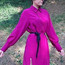 Yves Saint Laurent Ysl Rive Gauche Fuchsia Shirt Dress Sz 40 M 44 8 Silk Blouse Photo