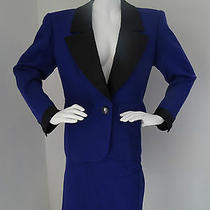 Yves Saint Laurent Ysl Rive Gouche Blue Tuxedo Skirt Suit Size 40 Photo