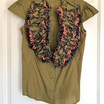 Yves Saint Laurent Ysl Runway Ruffle Blouse Khaki 38 Spring 2006 1500 Photo