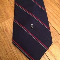Yves Saint Laurent Ysl Silk Necktie Blue Red Yellow Striped Skinny 3