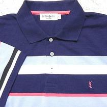 Yves Saint Laurent Ysl Slim Fit Striped Short Sleeve Polo Shirt -- Mens Size Xl Photo