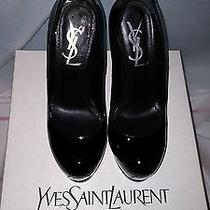 Yves Saint Laurent Ysl Tribtoo 105 Pump Size 34.5 Black Patent Photo