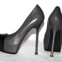 Yves Saint Laurent Ysl Tribtoo Grey Black Leather Cap Toe Platform Pumps Size 37 Photo