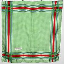 Yves Saint Laurent Ysl Vintage Silk Scarf Green Red Blue Plaid 34