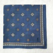 Yvessaint Laurent Scarf Handkerchief Cotton Blue Antique Dot Neck Scarf Kerchief Photo