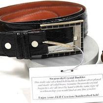 z&b Creazione Crocodile Belt Swarovski Crystal Buckle Colorblack Size 36  Photo