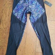 Z by Zobha High Waist Black Leggings Shine Pants Size L Large Nwt Womens  Photo