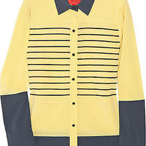 Z Spoke by Zac Posen Color-Block Silk Shirt - Yellow and Navy Size 8 Nwt Photo