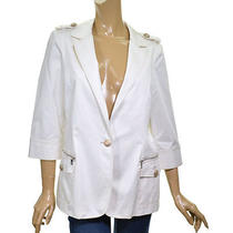 Z Spoke by Zac Posen White 3/4 Sleeve Blazer Jacket Ladies 12 Modern Cotton Photo