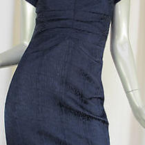 Z Spoke Zac Posen Dress Womens Size 2 Navy Blue Textured v-Neck Ruched Sheath Photo
