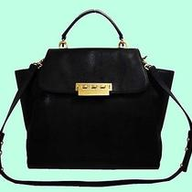 Z Spoke Zac Posen Eartha Black Hinged Leather Top Handle/shoulder Bag Msrp 475  Photo