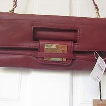 Z Spoke Zac Posen  Fold Over  Red Leather Clutch New Photo