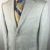 Z  Zegna  City Size 38 R u.s.sport Coat/blazer 100% Linen Seersucker Light Blue Photo