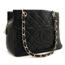 Z41 Chanel Authentic Caviar Chain Shoulder Bag Shopping Tote Black Quilted Purse Photo