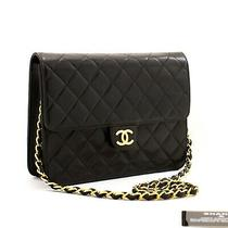Z49 Chanel Authentic Small Chain Shoulder Bag Clutch Black Quilted Flap Lambskin Photo