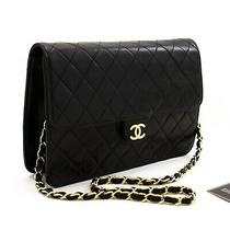 Z67 Chanel Authentic Chain Shoulder Bag Clutch Black Quilted Flap Lambskin Photo