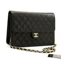 Z73 Chanel Authentic Chain Shoulder Bag Clutch Black Quilted Flap Lambskin Purse Photo