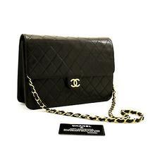Z74chanel Authentic Chain Shoulder Bag Clutch Black Quilted Flap Lambskin Purse Photo
