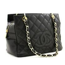 Z87 Chanel Authentic Caviar Chain Shoulder Bag Shopping Tote Black Quilted Purse Photo