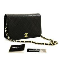 Z99 Chanel Authentic Chain Shoulder Bag Clutch Black Quilted Flap Lambskin Purse Photo
