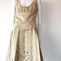 Zac Posen Beige Lazer Cut Textured  Sleeveless Dress Sz 6 Photo