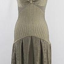 Zac Posen Beige Shimmer Gold v Neck Inverted Pleat Tank Dress S Photo