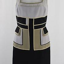 Zac Posen Black Beige Gray Geometric Patterned Silk Sleeveless Lined Dress Sz 6 Photo