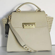 Zac Posen Eartha Studded Top Handle Satchel in Crema Saffiano Leather - New Tags Photo