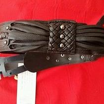 Zac Posen for Target Faux Leather Braided Black  Belt Xs-M With Tags Vegan Photo
