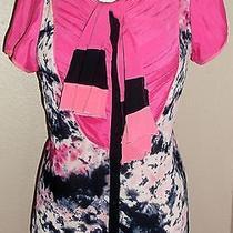 Zac Posen for Target Top Sz Large Pink Blue Print Bow Womens Blouse Shirt Photo
