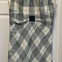 Zac Posen Geometric Black White Sheath Wool Knee-Lenght Sleeveless Dress Sz 12 Photo