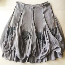 Zac Posen Gray Bubble Hem Studded Embellished Silk Knee-Length Skirt Sz 2 1.8k Photo