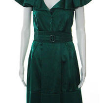 Zac Posen Green Silk Pleated Short Sleeve Flounce Button Front Tea Dress Sz 6 Photo